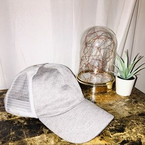 Grey and White Breathable Cap
